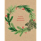 Paper Source, Happy F'ing Holidays Wreath A2 Single Card and Envelope, Funny Greeting Card