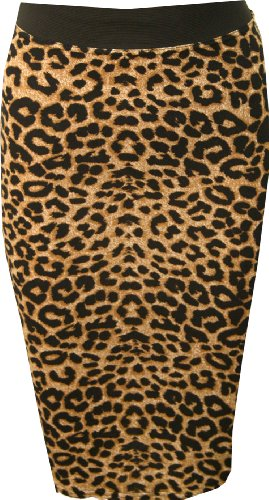 WearAll Women's Print Bodycon Midi Skirt - Brown Leopard - US 8-10 (UK 12-14) (Leopard Stretch Skirt)