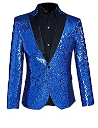 Men Sequin One Button Blue XL Jacket
