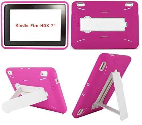 Amazon Kindle Fire HDX 7 inch Case (2013 Version) [NOT for Kindle Fire HD 7] Heavy Duty Hard Hybrid Protective Air Cushion Horizontal & Vertical View Kickstand Tablet Case Cover - Mobile Deerbrook T