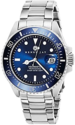 "Henry Jay Mens Stainless Steel ""Specialty Aquamaster"" Professional Dive Watch with Date"