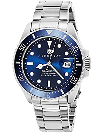 Henry Jay Mens Stainless Steel Specialty Aquamaster Professional Dive Watch  with Date 92bfef614fd