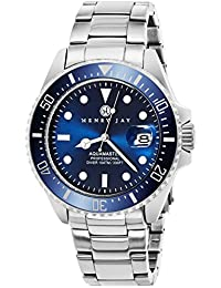 """Henry Jay Mens Stainless Steel """"Specialty Aquamaster"""" Professional Dive Watch with Date"""