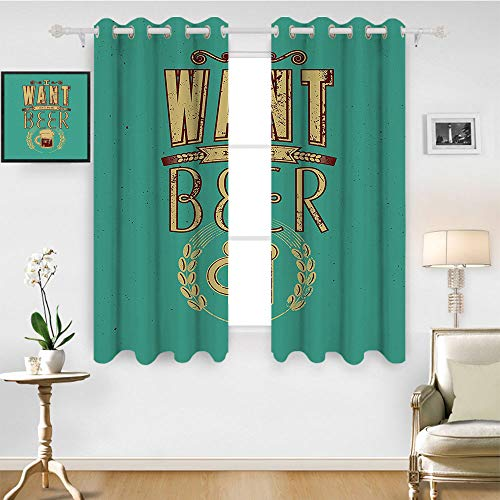 - SATVSHOP Window Curtain Fabric - 55W x 63L Inch-Drapes for Living Room.Manly Glass of Beer and Wheat Stem Typography etro Grunge I Want More Beer Image Light Sea Green.