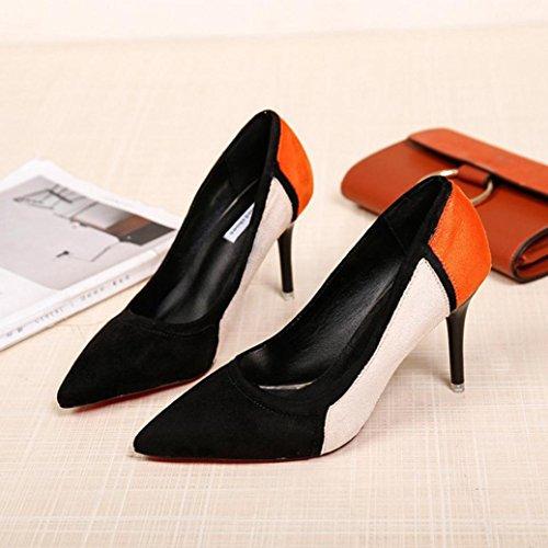 Hatop Pompes Chaussures, Femmes Printemps Casual Bout Pointu Chaussures Flock Patchwork Chaussures À Talons Hauts Noir