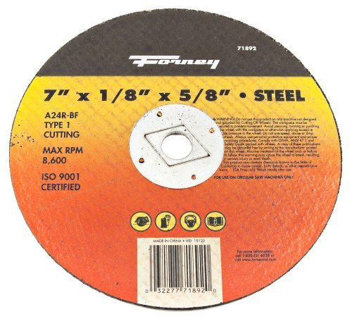 Forney Arbor - Forney 71892 Cut-Off Wheel with 5/8-Inch Arbor, Metal Type 1, A24R-BF, 7-Inch-by-1/8-Inch by Forney