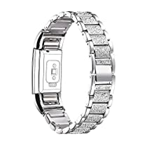 Fitbit Charge 2 Replacement Band, Bandmax Adjustable Metal Band with Folding Clasp Clear Rhinestone Bracelet for Fitbit Charge 2