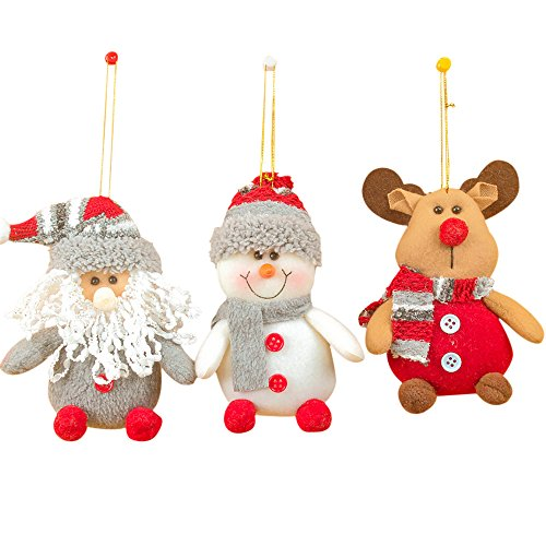3Pcs/Set Christmas Decoration Pendants Outside ,Christmas Tree Hanging Ornaments, Santa Claus Snowman Deer Doll for Home Deocr