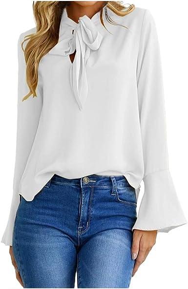 Cebbay - Camisa de manga larga para mujer, de muselina de ...