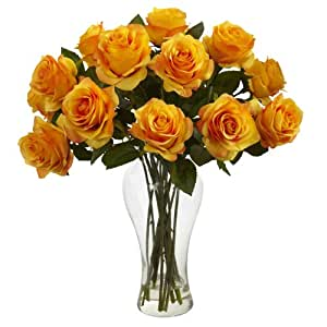 Nearly Natural 1328-OY Blooming Roses with Vase, Orange Yellow