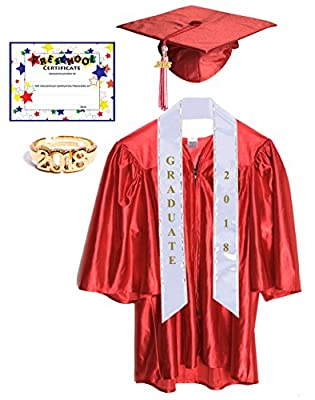 Preschool Graduation Cap and Gown with Tassel, Sash, Ring and Certificate
