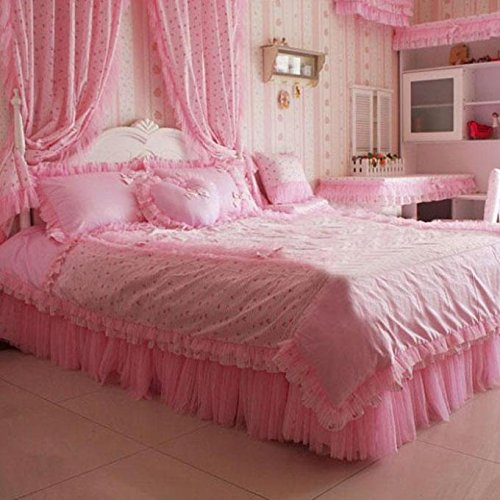 Cooperation Home Textiles, Korean Style Pink Princess Bedding Set, Lace Ruffle Bed Skirt, Lovely Bedding Set (Twin Size(5pc)) by Cooperation bedding