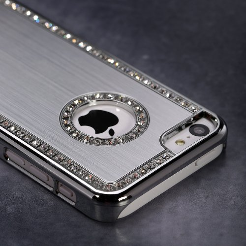 G4GADGET® Iphone 5/5S Deluxe Silver brushed aluminum diamond case bling cover for iphone 5/5S