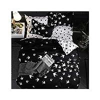 haleysmall Bedding Set King Duvet Cover Sets 3Pcs Marble Single Swallow Queen Size Black Comforter Bed Linens Cotton 200X200,Swallow,Cover 150X200Cm 3Pcs