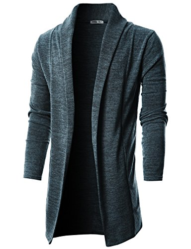 Ohoo Mens Long Sleeve Draped Lightweight Open Front Shawl Collar Longline Cardigan/DCC026-CHARCOAL-XXL