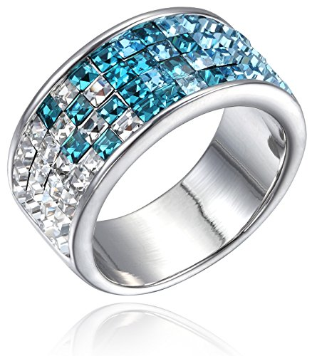 FAPPAC Channel Ring Band Enriched with Swarovski Crystals - Blue, White - 9