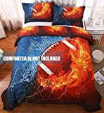 giveuwant 3D Sports Football Microfiber Duvet Cover Twin(59x83 Inch), 2 Pieces (1 Pillowcase, 1 Duvet Cover) 3D Football Bedding Set, Soft Sports Comforter Cover(No Comforter) for Boys, Kids, Teens.