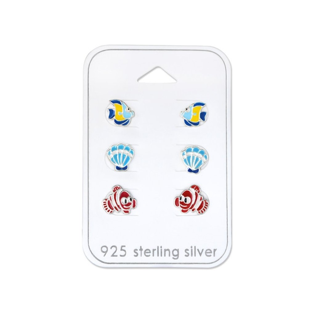 Fish Sets Studs on Cards 925 Sterling Silver Polished And Nickel Free Liara