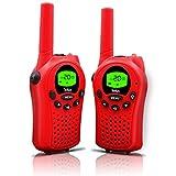 Walkie Talkies for Kids, 22 Channel Walkie Talkies 2 Way Radio 3 Miles (Up to 5Miles) FRS/GMRS Handheld Mini Walkie Talkies for Kids (Pair) (Red)