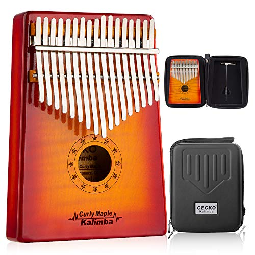 GECKO Kalimba 17 Key Thumb Piano with Hardshell Case Study Instruction Song Book Tuning Hammer for Kids Adult Beginners C Tone Tuned (Solid Curly -