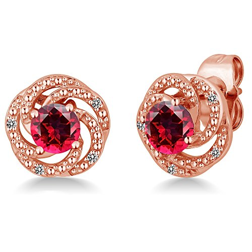 (18K Rose Gold Plated Silver Flower Design Earrings Set with Blazing Red Topaz from Swarovski)