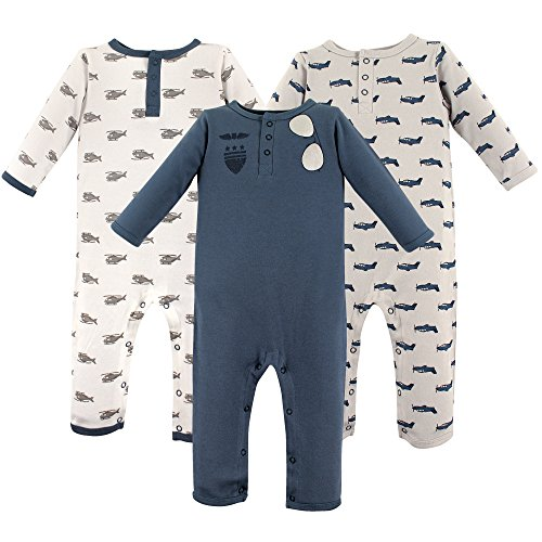 Hudson Baby Baby Cotton Union Suit, 3 Pack, Aviator, 12-18 Months