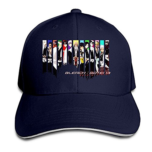 Geneva F Adult Bleach Gotei Sandwich Bill Baseball Snapback Cap Navy