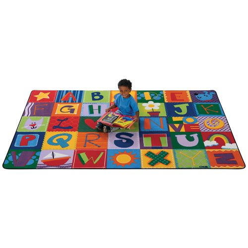 Block Printed (Carpets for Kids 3802 Printed Toddler Alphabet Blocks Kids Rug Size: 8' x 8' x, 8' x 12' , Multi Colored)