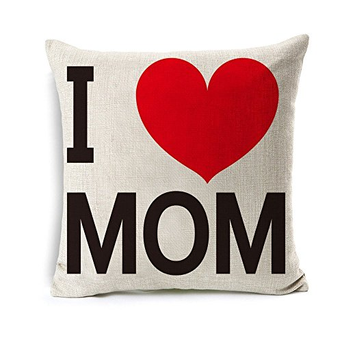 All Smiles Mothers Day Throw Pillow Cover Case Cushion Pillowcase Gift for Mom Birthday from Daughter or Son 18x18,I Love Mom Grandma