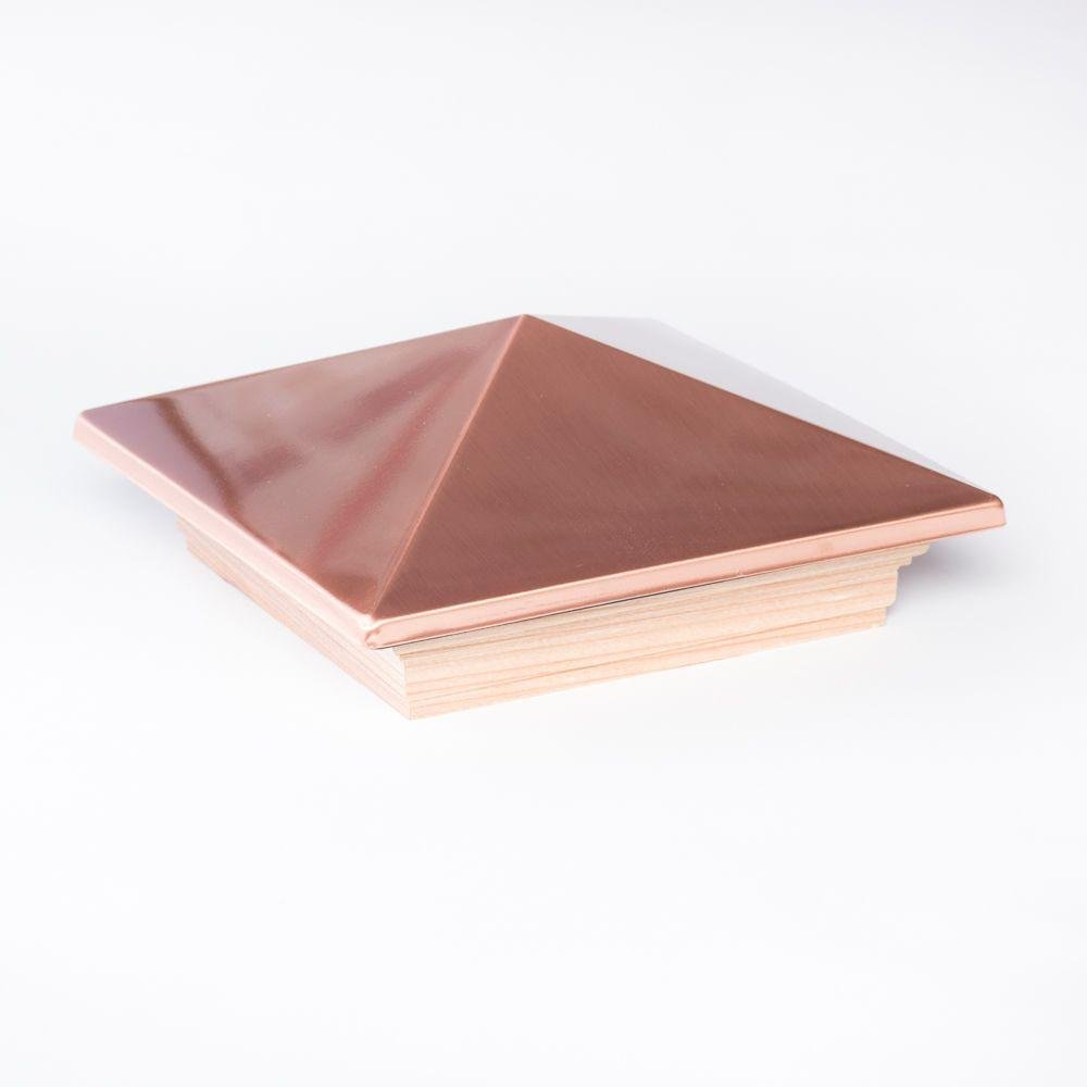 6 in. x 6 in. Redwood and Copper Pyramid Post Cap (6-Pack)