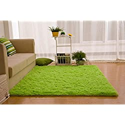 Ultra Soft 4.5 Cm Thick Indoor Morden Area Rugs Pads, New Arrival Fashion Color [Bedroom] [Livingroom] [Sitting-room] [Rugs] [Blanket] [Footcloth] for Home Decorate. Size: 4 Feet X 5 Feet (Green)