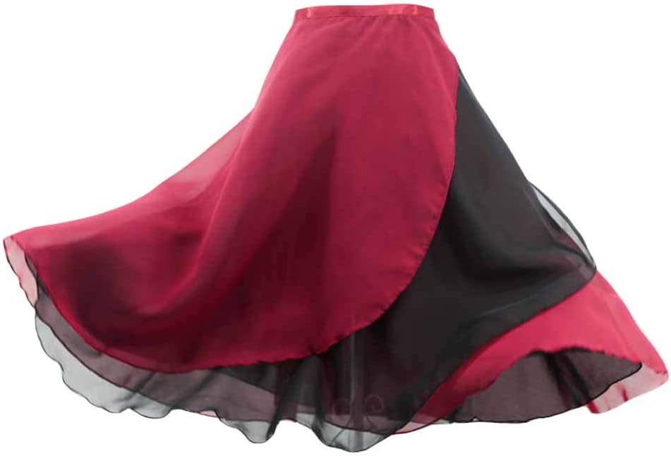Mujeres 2 Capas de Gasa Reversible Vino Rojo Negro Ballet Falda ...