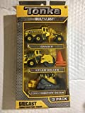 Tonka Diecast Construction Crew 3 Pack: Grader Steam Roller, Construction Dozer, with 2 Bonus Pylons by Tonka