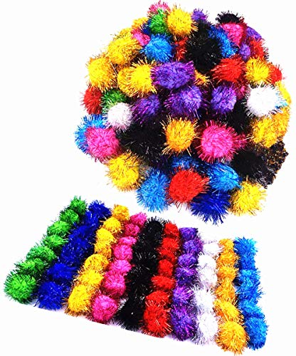 TECH-P Arts& Crafts Pom Poms Sparkle Balls Glitter Pom Poms Pet Toy Balls Holiday Party Christmas Decorations,Assorted Color- 35mm-100Pack+1 PCS TECH-P Coaster