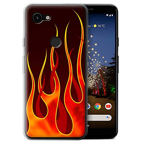 eSwish Gel TPU Phone Case/Cover for Google Pixel 3a XL/Red/Orange Design/Flame Paint Job Collection