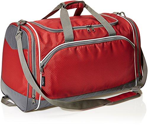 Amazon Basics Medium Lightweight Durable Sports Duffel Gym and Overnight Travel Bag – Red