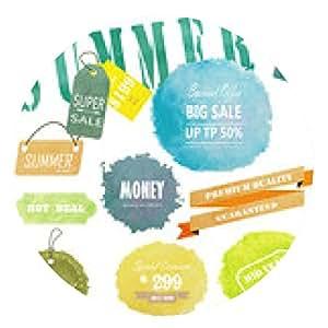 alfombrilla de ratón diseño publicitario etiqueta de venta con la acuarela de verano en la mitad del año - ronda - 20cm