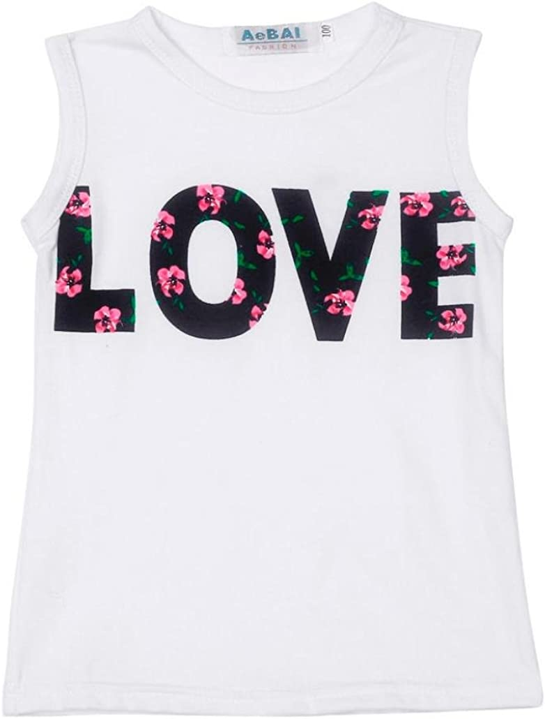 Lisin Girls Love Letters Printed Sleeveless Vest//Long Sleeve Floral Skirt Set Clothes