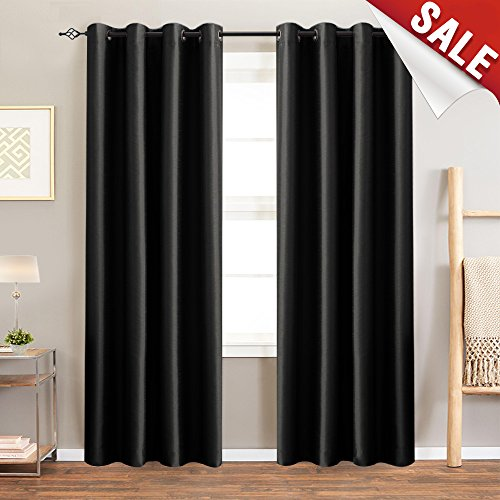 jinchan Luxury Dupioni Blackout Curtains for Bedroom, Thermal Insulated Top Grommet Faux Silk Satin Window Treatment Set, (50-inch x 84-inch, Black, 2 Panels)