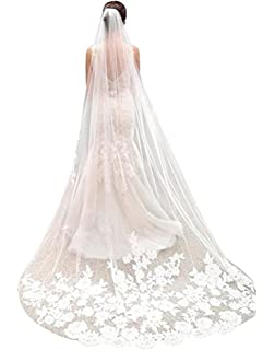 5a151dbc44006 White Ivory Wedding Veil Cathedral Length Lace Edge Soft Tulle 3m Long  Bridal Veil with Comb