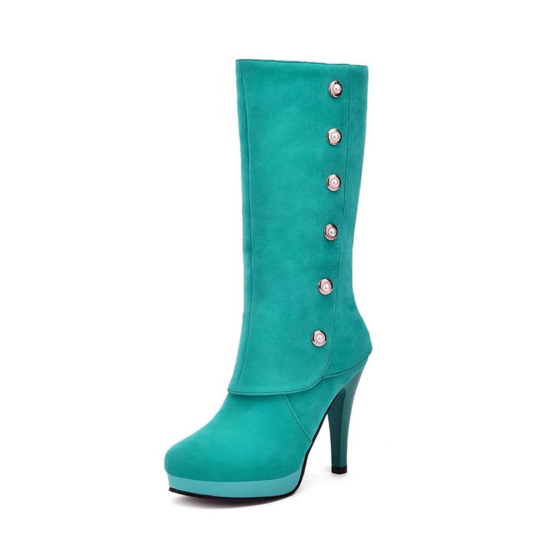 AgooLar Damen Rund Zehe Hoher Absatz Ziehen auf Mitte-Spitze Stiefel, Blau, 36