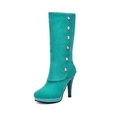 AgooLar Damen Rund Zehe Blend-Materialien Ziehen auf Hoher Absatz Stiefel, Weinrot-Metallstück, 37