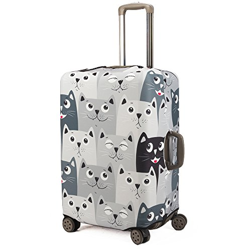 Madifennina Spandex Travel Luggage Protector Suitcase Cover Fit 23-32 Inch Luggage (graycat, M)