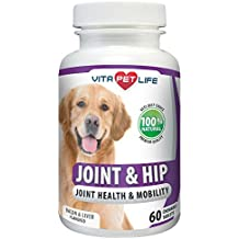 Glucosamine for Dogs, Joint and Hip Support for Dogs, MSM, Chondroitin, Pain Relief from Arthritis, Joint Inflammation and Dysplasia, Promotes Healthy Cartilage and Mobility, 100% Natural (60 chews)