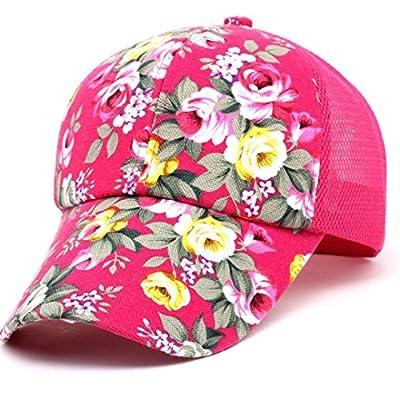 Voberry Womens Cotton Floral Baseball Cap Summer Meshy Snapback Cap Hat