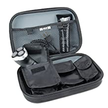 Hard Shell Electric Shaving Travel Case with Customized Storage Pockets for Phillips Norelco 2100 , Braun Series 7 , Panasonic ES8103S - Holds Chargers , Clippers , Cleaning Solution & more