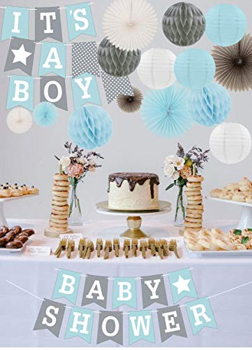 RainMeadow Premium Baby Shower Decorations for Boys Kit | It's A BOY | Garland Bunting Banner, Paper Lanterns, Honeycomb Balls | Tissue Paper Fans | Blue Grey White | Elephant -