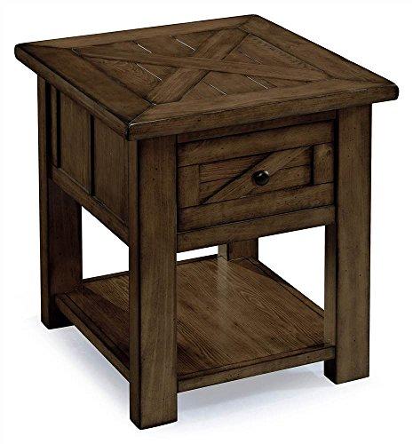 Magnussen Square End Table - Magnussen Fraser 1 Drawer End Table in Rustic Pine