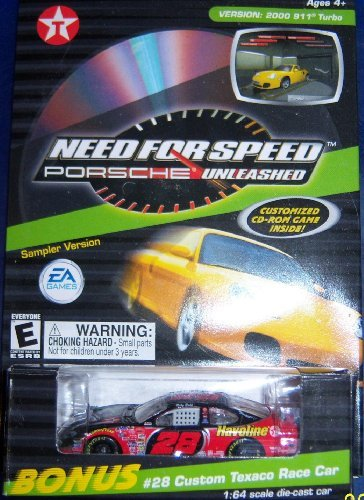 EA Games Need for Speed Sampler Porsche Unleashed Version: 2000 911 Turbo w/ #28 Custom Texaco Race Car 1:64 Die Cast