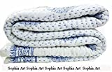 """Sophia Art Hand Made Cotton Indian Kantha Quilted Kantha Quilt Bed Spread Blanket Throw Indian Queen Size White Base Size 90"""" X 108"""""""